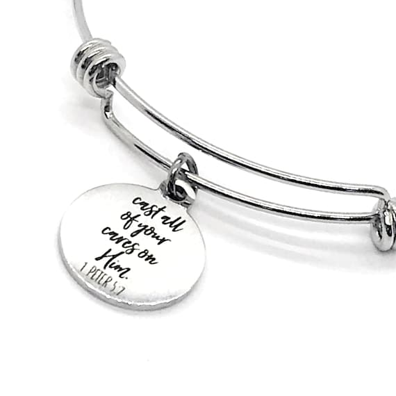 Christian Charm, Cast All Of Your Cares On Him Bracelet, Christian Jewelry, Christian Gift, Bible Verse Charm, 1 Peter 5 7 Scripture Charm