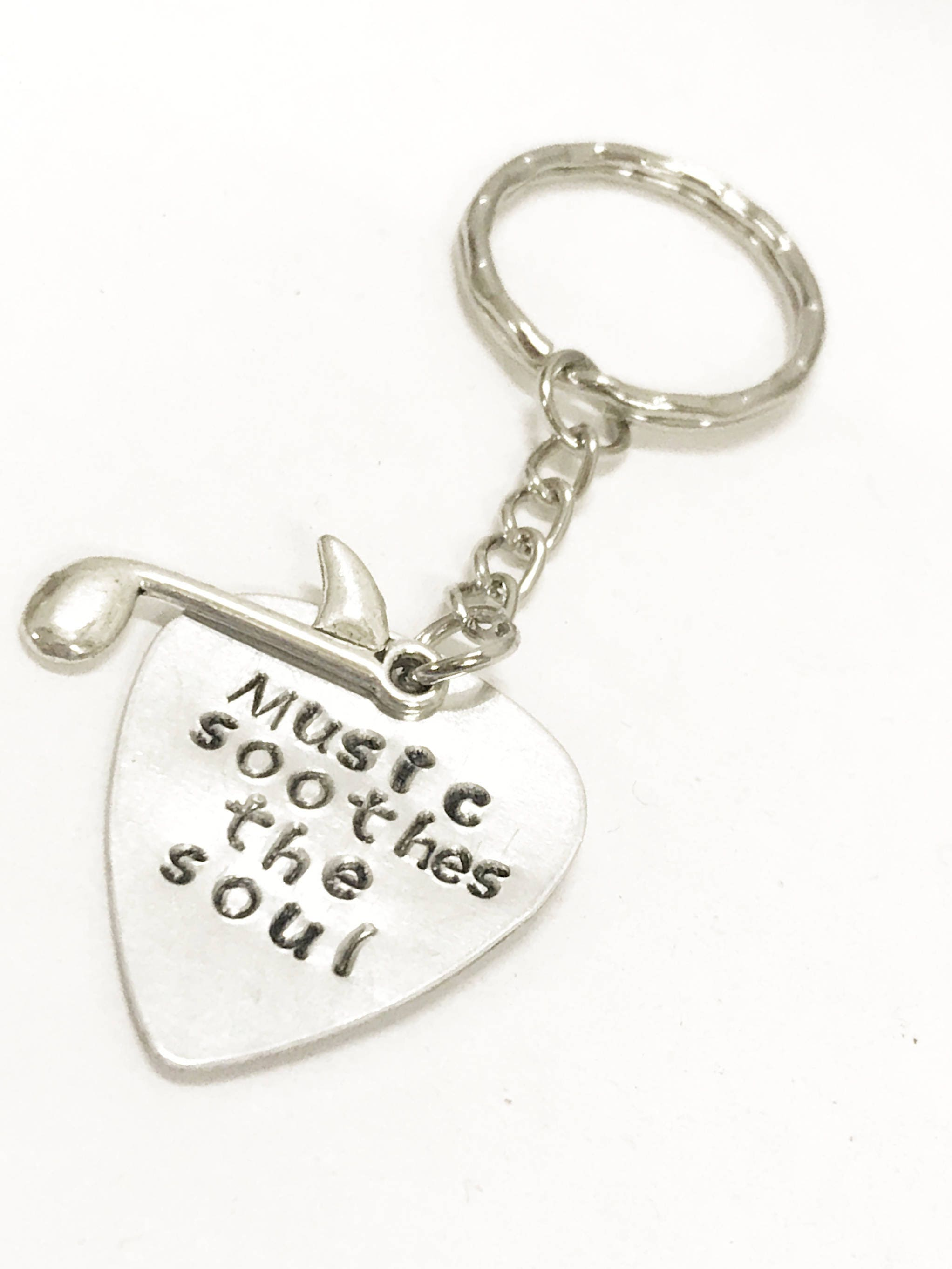 Music Lover Gift, Music Soothes The Soul Keychain, Music Lover