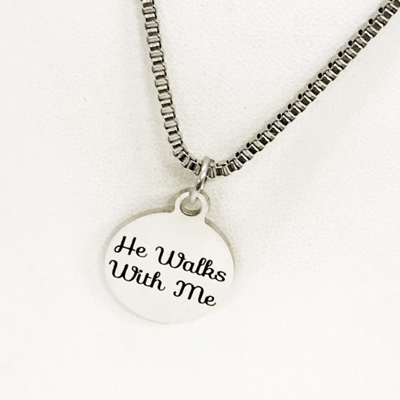 Christian Gift, He Walks With Me Necklace, Men Christian Jewelry, Christian Man Necklace, Baptism Gift, Religious Gift For Him, Husband Gift