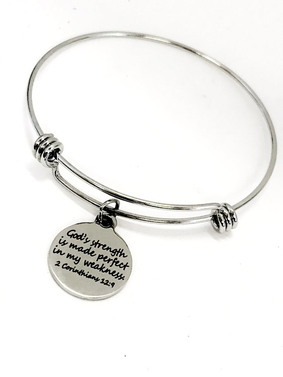 Bible Verse Bracelet, God's Strength Is Made Perfect In My Weakness Bracelet, Bible Verse Gift, Strength Gift, Sympathy Gift, 2 Cor 12 9
