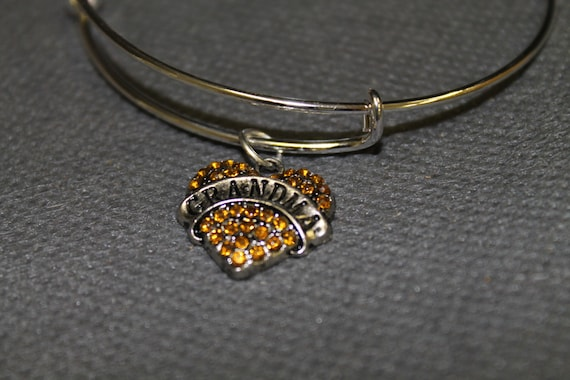 Grandma Heart Orange Crystal Charm Expanding Bangle Bracelet