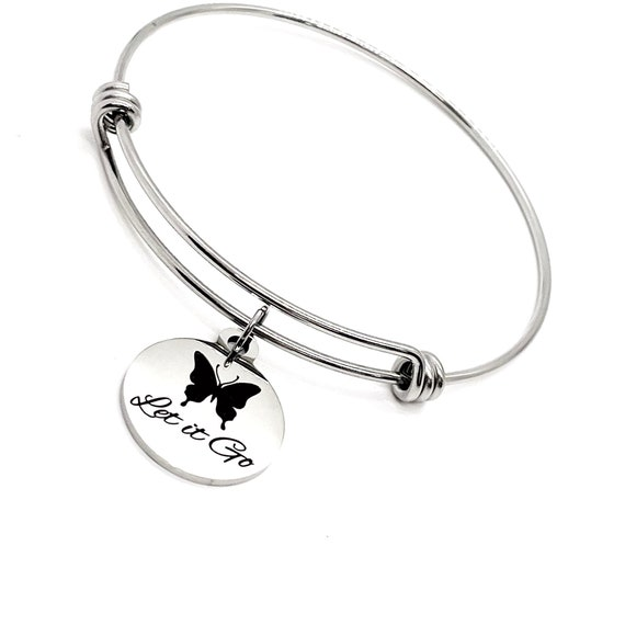Affirmation Jewelry, Let It Go Charm Bracelet, Butterfly Bracelet, Encouraging Her, Daughter Gift, Moving On, Divorce Gift, Encouraging Gift