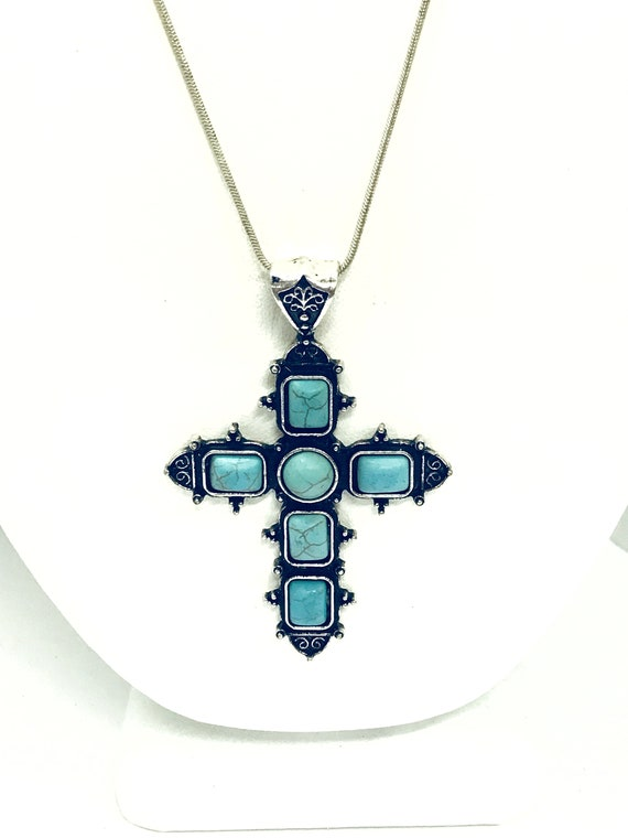 Southwestern Style Cross Necklace, Silvertone Turquoise Cross Pendant, Christian Cowgirl Statement Necklace, Chunky Cross, Gift For Her
