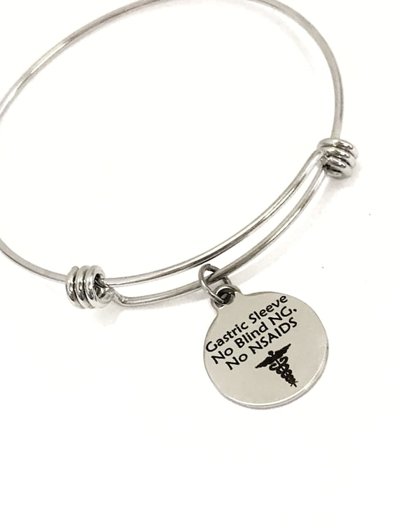 Gastric Sleeve Medical Charm Bracelet, Gastric Sleeve Awareness, Gastric Sleeve Jewelry, No Blind NG, No NSAIDS, Medical Notification