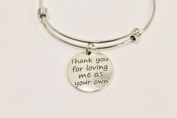 Thank You For Loving Me As Your Own Expanding Bangle Charm Bracelet, Stepmom Jewelry, Gift for Stepmom, Mother-In-Law Gift, Thank You Gift