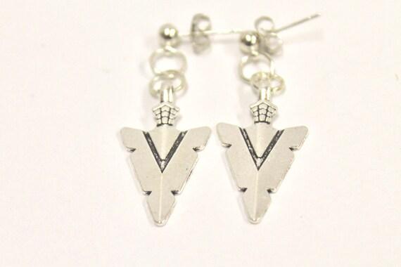 Silvertone Arrowhead Earrings, Southwestern Style Earrings, Gift For Her, Southwestern Jewelry, Girlfriend Gift, Wife Jewelry Gift Earrings