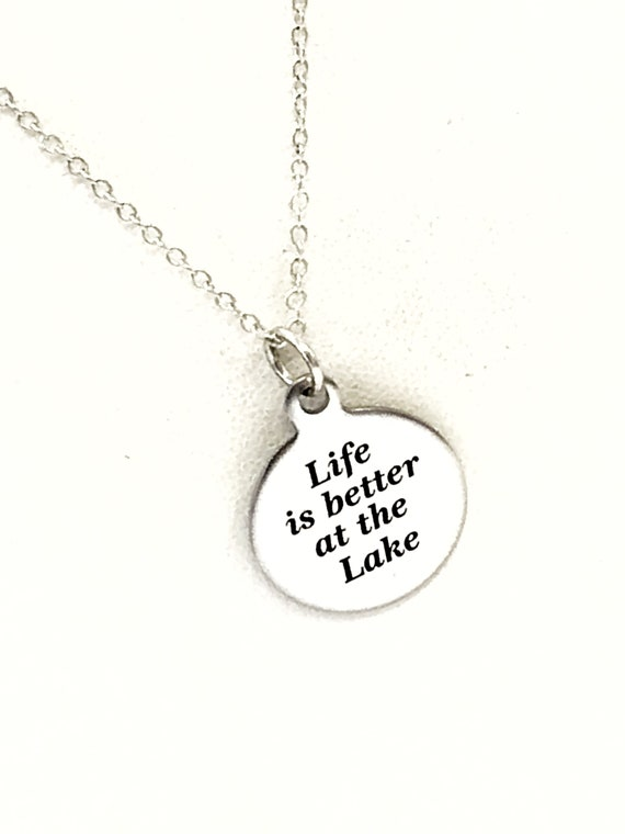Wife Jewelry, Life Is Better At The Lake Necklace, Wife Gift, Wife Necklace, Lake Jewelry, Girlfriend Gift, New Lakehouse Gift, Summer Gift