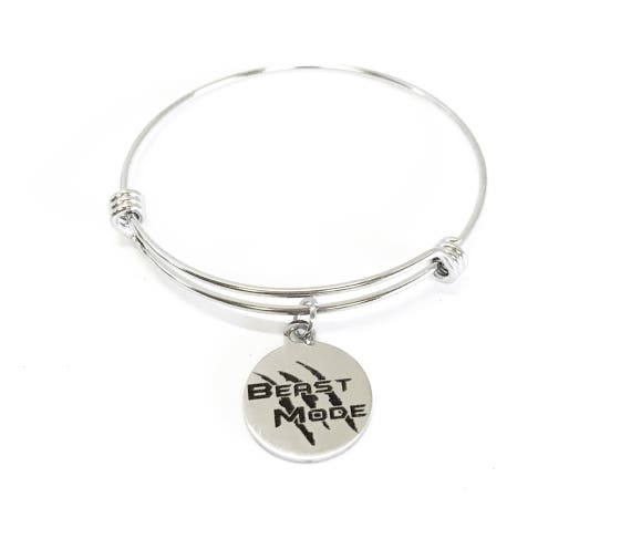 Beast Mode Expanding Bangle Charm Bracelet, Motivational Gift for Her, Motivating Jewelry, Exercise Jewelry Gift for Wife, Girlfriend Gift