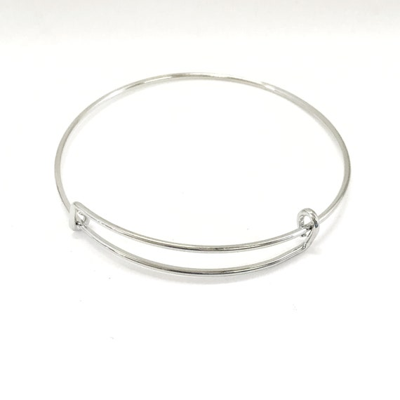 Expanding Bangle Charm Bracelet, Silvertone Charm Bracelet, Expanding Bracelet, 65mm Expanding Bracelet, 1 - 5 - 10 Qty Options
