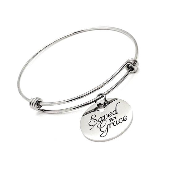 Faith Gift, Saved By Grace Charm Bracelet, Ephesians 2 8, Christian Gift, Salvation Gift, Baptism Gift, Daughter Gift, Baptism Bracelet