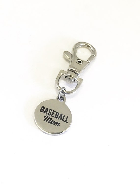 Baseball Mom Gifts, Baseball Mom Zipper Pull, Baseball Mom Purse Charm, Baseball Mom Bag Charm, Mother's Day Gifts, Proud Baseball Mom Gift