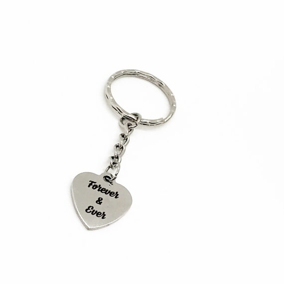 Love Gift, Forever And Ever Keychain, Anniversary Gift, Wedding Gift, Love Quote, Daughter Gift, Son Gift, Husband Gift, Wife Gift
