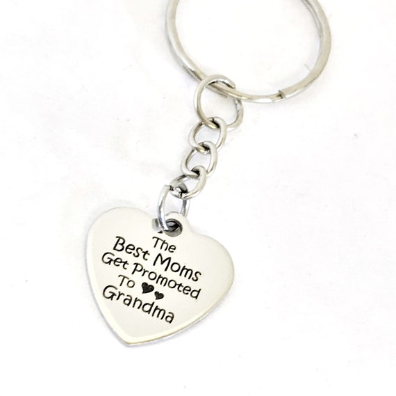 Grandma Gift, The Best Moms Get Promoted To Grandma Keychain, Grandma Keychain, Gift For Grandma, Gift For Mom, Pregnancy Announce Gift