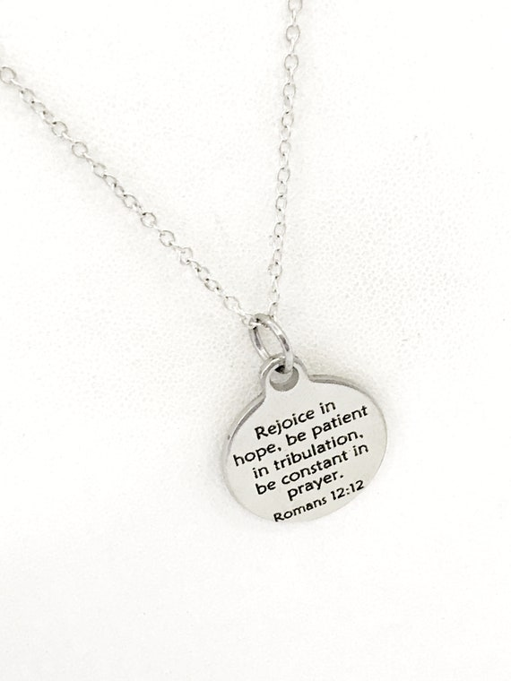 Christian Jewelry, Rejoice In Hope Necklace, Christian Necklace, Scripture Jewelry, Romans 12 12 Jewelry, Christian Gifts, Sympathy Gift