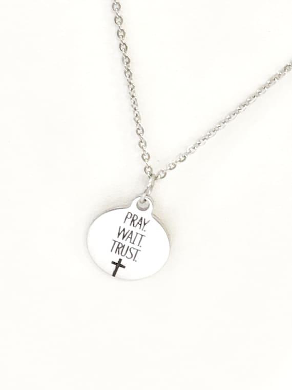 Christian Jewelry, Pray Wait Trust Necklace, Christian Necklace, Scripture Jewelry, Christian Gift, Religious Jewelry, Cross Pendant Gift
