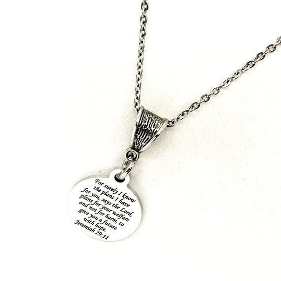 Scripture Gift, For Surely I Know The Plans I Have For You Necklace, Jeremiah 29 11 Jewelry, Faith Gift, Plans To Prosper You, God's Plans