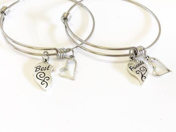 Best Friends Expanding Bangle Charm Bracelet Set, Best Friend Gift, BFF Bestie Gift, Stacking Bracelet, Girlfriend Best Friends Forever