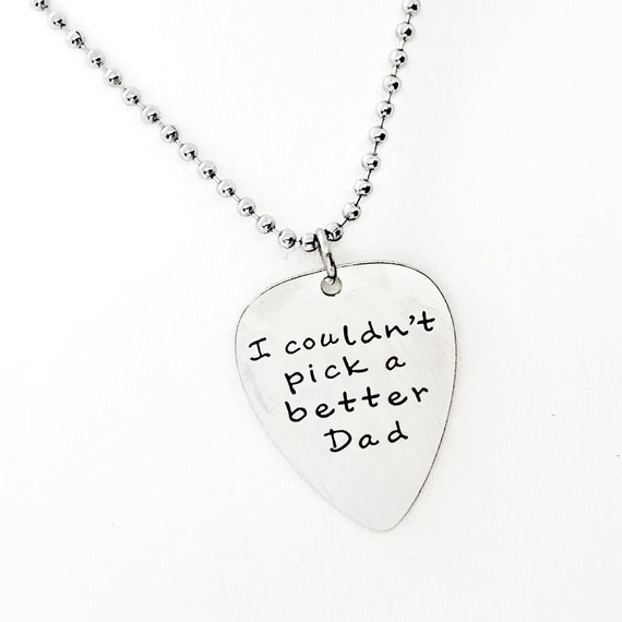 Dad Gift, I Couldn't Pick A Better Dad Necklace, Gift For Dad, Dad Love, Guitar Pick. Charm, Dad Christmas, Dad Birthday