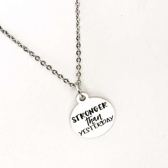 Motivating Gift, Stronger Than Yesterday Necklace, Workout Partner, Exercise Partner, Motivating Quote, Recovery Gift, Recovery Jewelry