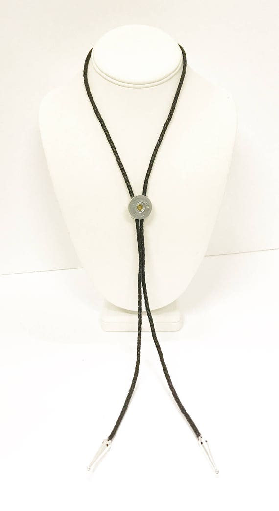 12 Gauge Shotgun Shell Bolo Tie, Black Cord Bola Tie Gift For Him, Southwestern Style, Shooting Sports Western Jewelry Gift For Dad