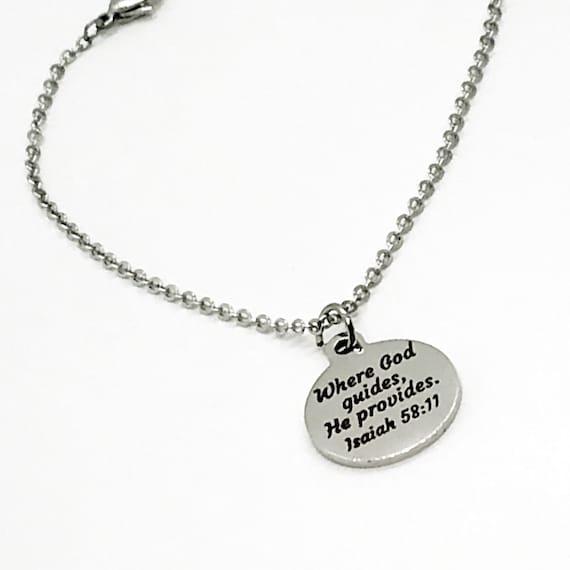 Charm Bracelet, Where God Guides, He Provides Scripture Charm, Isaiah 58 11 Charm, Christian Bracelet Gift, Stainless Charm Bracelet