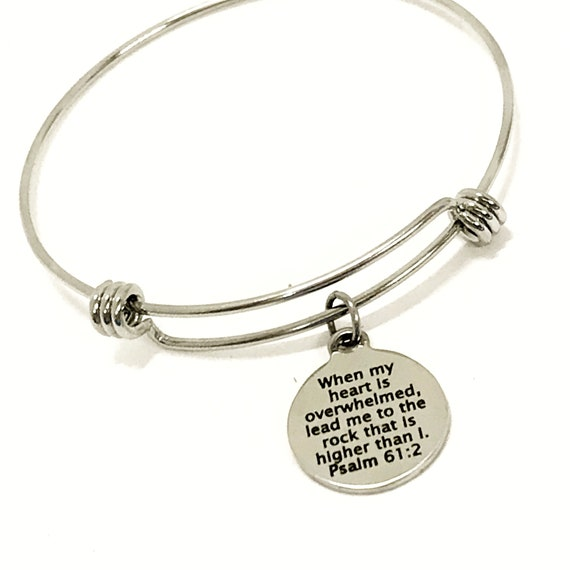 Christian Gift, When My Heart Is Overwhelmed Stacking Bracelet, Lead Me, Christian Bracelet Gift, Christian Jewelry Gift, Psalm 61 2 Jewelry
