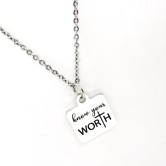 Motivational Gift, Know Your Worth Necklace, You Are Worthy, Overcomer Gift, Encouragement Gift, Encouraging Her, Christian Worth