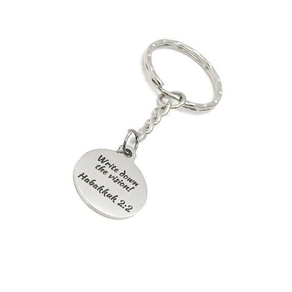Scripture Gift, Write Down The Vision Keychain, Habakkuk 2 2 Keychain, Goal Setting, Scripture Quote, Scripture Charm, Bible Verse Gift