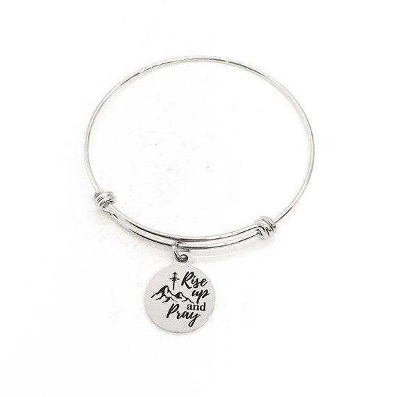 Faith Gift, Rise Up And Pray Bracelet, Charm Bangle, Christian Gift, Prayer Gift, Prayer Partner Gift, Gift For Her, Affirmation Gift