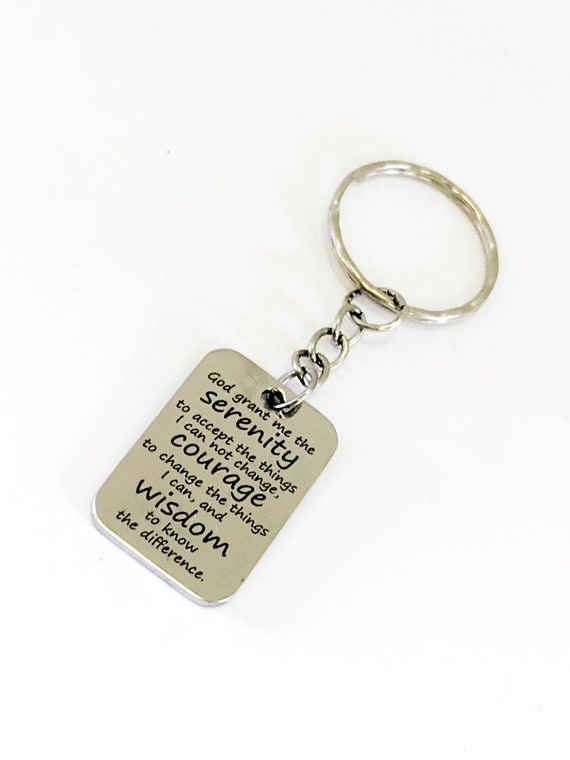 Serenity Prayer Keychain, Christian Keychain, God Grant Me, Serenity Prayer Gift, Serenity Prayer Charm, Recovery Gift, Recovery Keychain