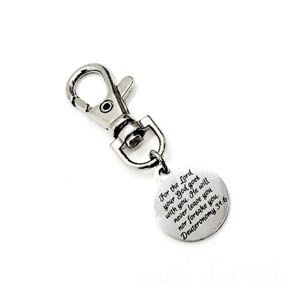 Bag Charm, God Is With You Keychain Charm, Deuteronomy 31 6 Charm, Son Gift, Daughter Gift, Christian Gift, Back Pack Charm, Purse Charm
