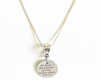 He Heals The Wounds Of Every Broken Heart Necklace, Scripture Necklace, Psalm 147:3 Bible Verse Sympathy Jewelry Gift For Her