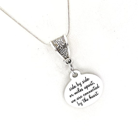 Long Distance Love, Side By Side Or Miles Apart We Are Connected By The Heart Necklace, Daughter Gift, Wife Gift, Gift For Her, College Gift