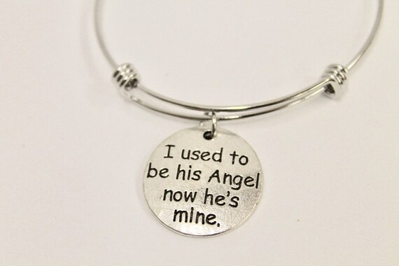 I Used To Be His Angel Now He Is Mine Expanding Bangle Charm Bracelet, Gift For Her, Dad Remembrance, Sympathy Gift, Remembering Dad
