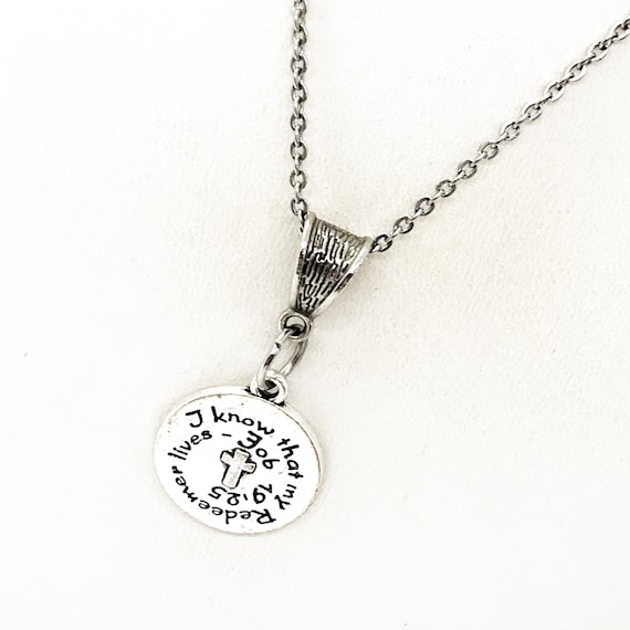 Scripture Gift, I Know That My Redeemer Lives Necklace, Job 19 25 Jewelry, Scripture Quote, Christian Gift, Christian Scripture, Bible Verse