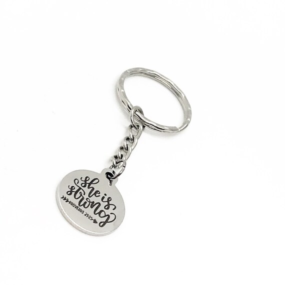 Motivating Gifts, Motivating Keychain, She Is Strong Keychain, Proverbs 31 25 Charm, Motivating Keyring, Strong Woman Gifts, Daughter Gifts