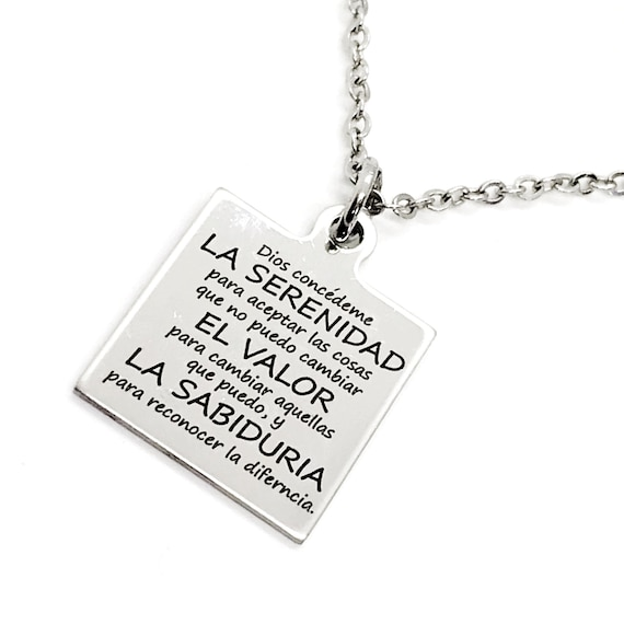 Charm Anklet, Spanish Serenity Prayer Anklet, Serenity Prayer Charm, Spanish Jewelry Gift, Stainless Charm Anklet, Serenity Prayer Gift