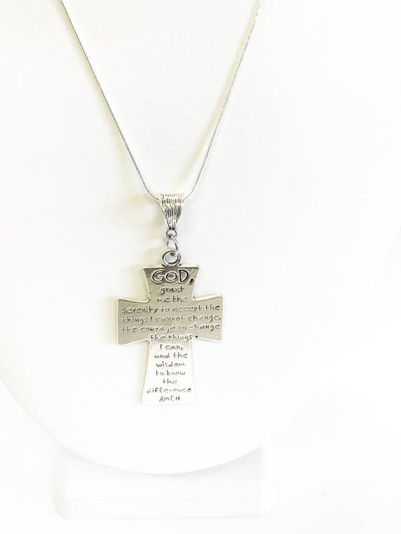 Serenity Prayer Cross on Silver Chain, Motivational Necklace Gift, Inspirational Jewelry, Serenity Prayer Necklace, Recovery Gift