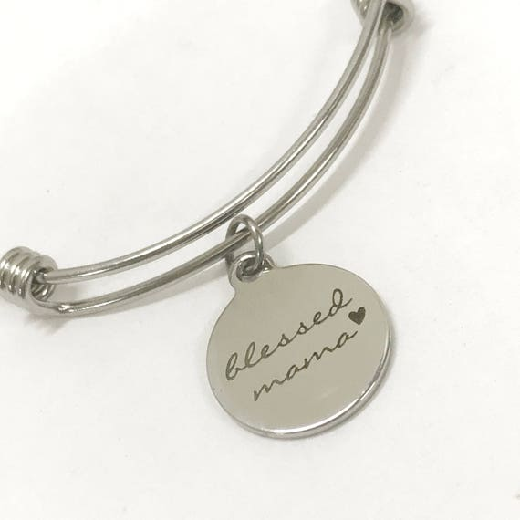 Blessed Mama Bracelet, Blessed Mama Jewelry, Blessed Mama Gift, Mama Stocking Stuffer, Gift For Mama, Gift For Mom, Stacking Bangle