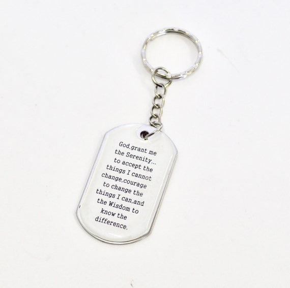 Serenity Prayer Keychain, Serenity Prayer Dogtag, Gift for Him, Gift For Her, Sympathy Gift, Recovery Gift, Recovery Support, Keyring Gift