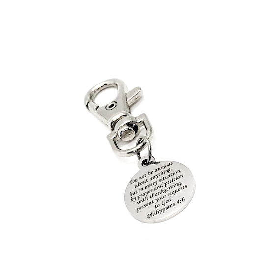 Scripture Gift, Do Not Be Anxious About Anything Clip On Charm, Philippians 4 6, Scripture Quote, Present Your Requests To God