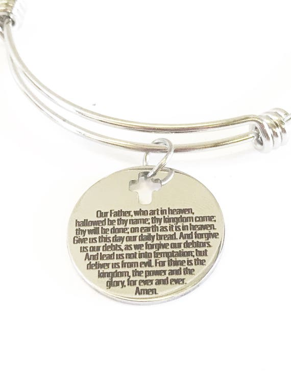 The Lords Prayer Expanding Bangle Charm Bracelet Gift, Matthew 6 5 to 14 Scripture Verse Jewelry Gift for Her, Lord's Prayer Jewelry Gift
