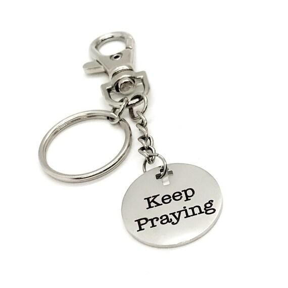 Faith Gift, Keep Praying Keychain, Prayer Keychain Gift, Pray Partner Gift, Sunday School Gift, Christian Gift, Scripture Charm Keychain