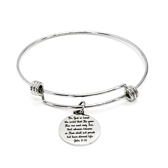 Christian Jewelry, John 3 16 Bracelet, For God So Loved The World, Scripture Jewelry, Scripture Charm, Bible Verse Bracelet, Baptism Gift