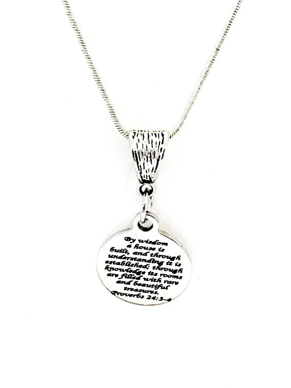 Marriage Jewelry, Marriage Gift, Christian Marriage Necklace, By Wisdom A House Is Built, Wedding Gift, Bride Jewelry Gift, Something New
