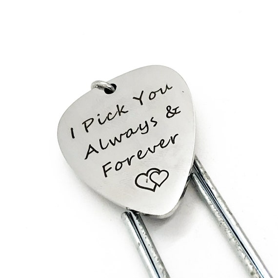 Bookmark Gift, I Pick You Always and Forever Bookmark, Guitar Pick Charm Bookmark, Wife Gift, Husband Gift, Planner Bookmark