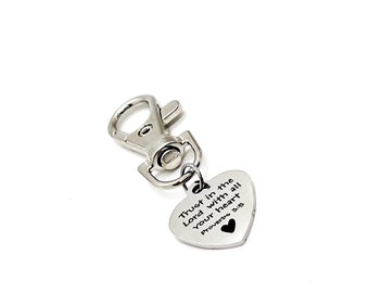 Faith Gift, Trust In The Lord Clip On Charm, Proverbs 3 5 Charm, Scripture Gifts, Faith Charm, Trust In The Lord Charm, Bible Verse Gifts