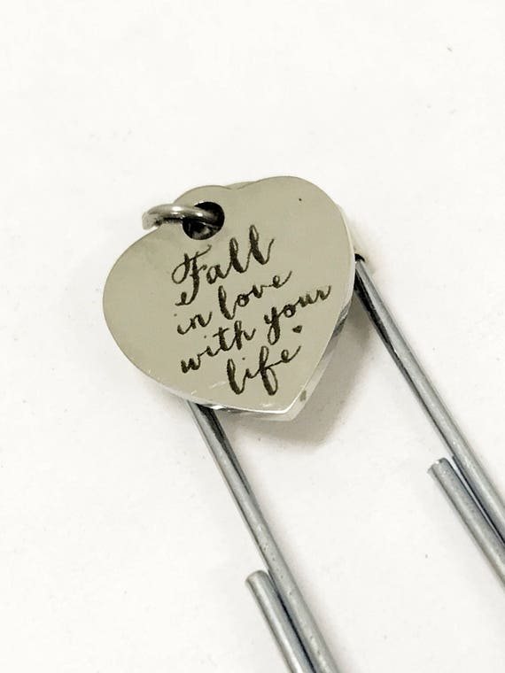 Planner Bookmark, Fall In Love With Your Life Bookmark, Planner Paper Clip, Planner Accessories, Paper Clip Love Bookmark, Day Marker