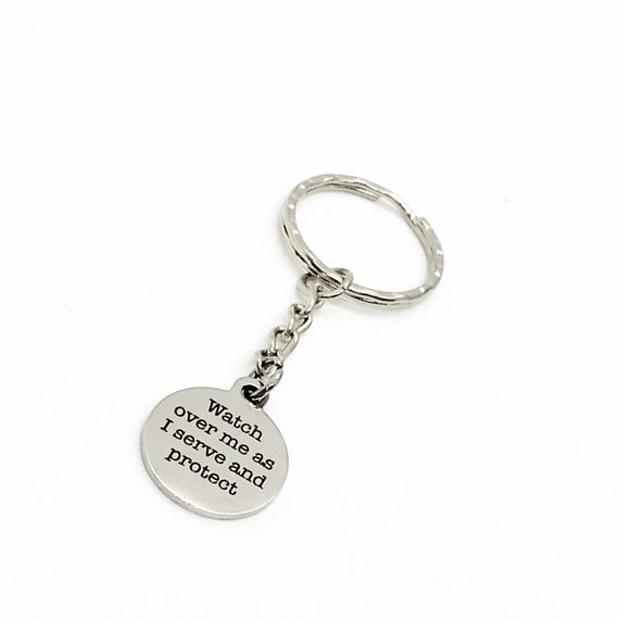 Police Officer Gift, Watch Over Me As I Serve And Protect Keychain, Social Worker Gift, Officer Prayer, Nurse Gift, Doctor Gift