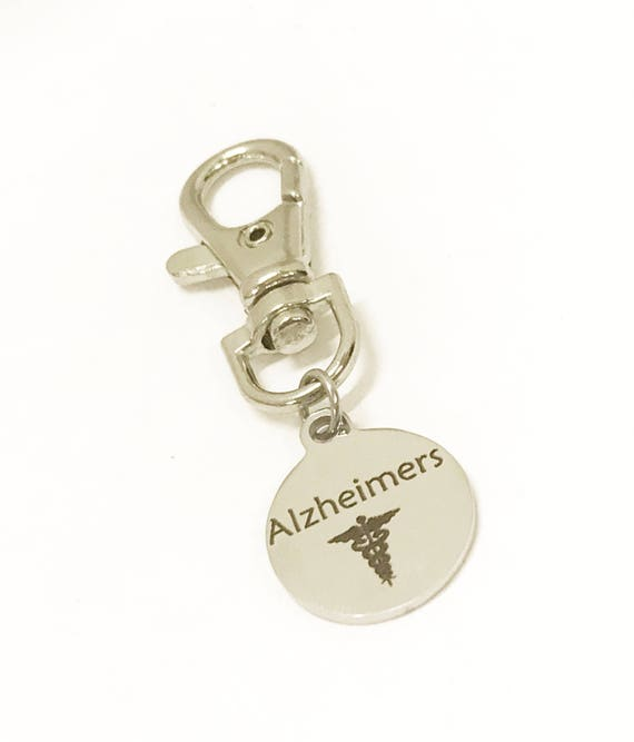 Alzheimer's Zipper Pull, Alzheimer's Patient Items, Alzheimer's Medical ID, Medical Zipper Pull, Alzheimers Medical ID Zipper Pull